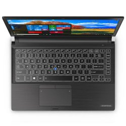 Toshiba Portege A30 image: The Portege A30 has a backlit, spill-proof keyboard, with a pointing stick in addition to the touchpad. Just below the touchpad is a built-in fingerprint reader.