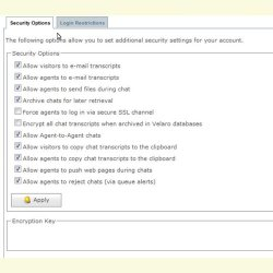 Velaro image: A list of check boxes allows administrators to easily change security parameters.