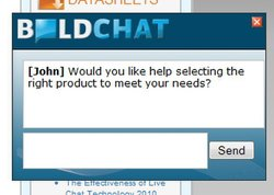 BoldChat: In this image you will see a Proactive Chat Invitations being used to Upsell.