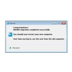 When the migration is complete, the software prompts you to restart your new computer and then use your old system's login.