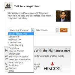 Rocket Lawyer image: You can search for an attorney in your area with expertise in the legal area you need.