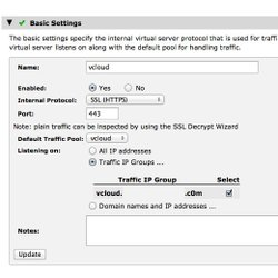 This image shows the website security and performance service Stingray Traffic Manager. Here you can see the settings screen.