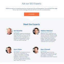 You can ask the company's experts questions about online reputation management, SEO and related issues.