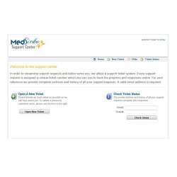 MedScribe image: You can send in a ticket for support through MedScribe's Support Center.
