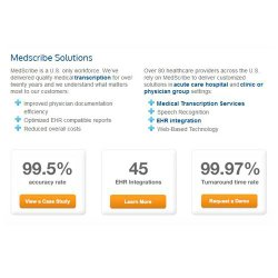 MedScribe image: MedScribe claims a 99.5 percent accuracy rate, and its services can integrate with up to 45 electronic health record systems.