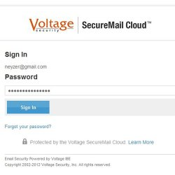 HP SecureMail image: When opening an encrypted message, you type in your password to decrypt the communication.