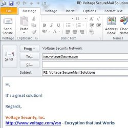 HP SecureMail image: This image shows how you send secure communication when replying to encrypted messages.