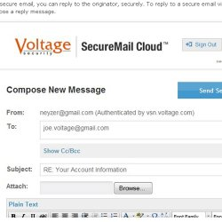 HP SecureMail image: This screenshot displays the sender's authentication in a new message.