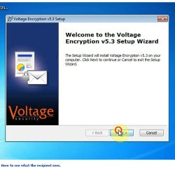 HP SecureMail image: This image shows the installation process using the wizard.