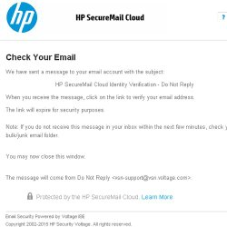 HP SecureMail image: This image shows the identity verification stage when installing HP SecureMail.
