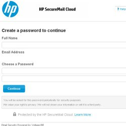 HP SecureMail image: This image shows the setup guide for creating an account.