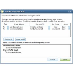 Comodo image: This image shows a sample non-encrypted-email-alert report.