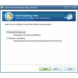 Comodo image: This image shows the operating mode choices for Comodo Secure Email.