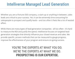Intelliverse image: This company offers lead generation services for companies of all sizes, from start-ups to Fortune 500 companies.