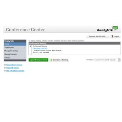 ReadyTalk image: The dashboard's homepage displays what meetings you have scheduled.