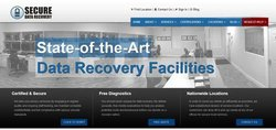 Secure Data Recovery's homepage lists the service's certifications, plus info about its free diagnostic process and state-of-the-art facilities.