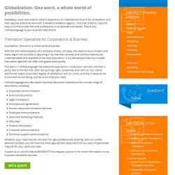 inWhatLanguage image: The translation service specializes in corporate and business translations.