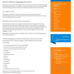 inWhatLanguage image: Travel and tourism translations are offered.