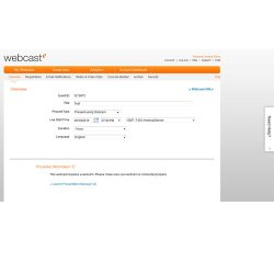 ON24 image: When setting up a meeting, you simply fill out the information for each tab.