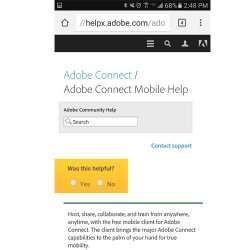 Adobe Connect image: You can connect to Adobe's support page directly from the application.