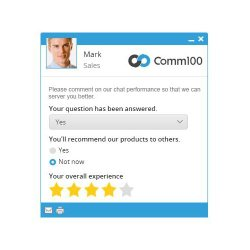 Comm100 image: Post-chat surveys help you see how well your employees are providing support to your customers.