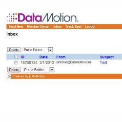 DataMotion image: This image shows a sample inbox view of the online portal version.