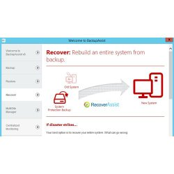 BackupAssist image: With the recover tab, you can rebuild an entire system from a backup.