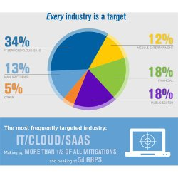 Verisign DDoS Protection Services image: This pie graph demonstrates the most vulnerable industries, giving you an idea of how much you and your business might be at risk.