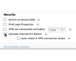PureVPN has security features, including a kill switch.