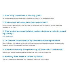 CreditCardProcessing.com image: The company website offers detailed information about starting an account.