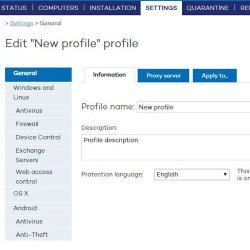 Panda Endpoint Protection Plus image: You can create new profiles to set security policies.