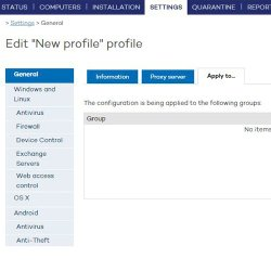 Panda Endpoint Protection Plus image: Once you create a profile, you can then choose the group to apply the security policies to.