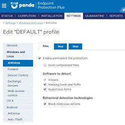 Panda Endpoint Protection Plus image: From the Settings tab you can see the various configurations and components you can select.