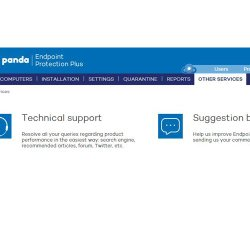 Panda Endpoint Protection Plus image: From one dashboard, you can configure and contact support technicians for help.
