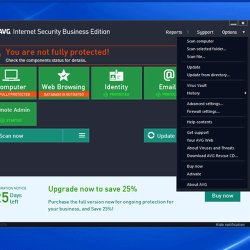 AVG Internet Security Business Edition image: From the Options menu, you can select a variety of shortcuts to manage your security settings.
