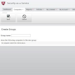 McAfee Security for Business image: With this software, you can create groups and add individual computers, then apply policies to that group, creating role-based access to your network.