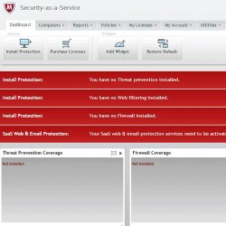 McAfee Security for Business image: A centralized management dashboard allows easy configuration and network monitoring.