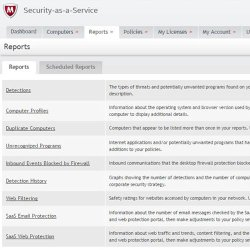 McAfee Security for Business image: Quickly generate reports or schedule reports based on the type of protection such as email, web, detections, etc.