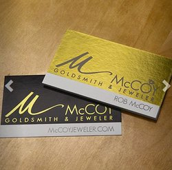 Elite Flyers image: In addition to matte and glossy finishes, this service uses foil to make your business cards shine.