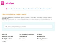 Jukebox Print image: This service has a comprehensive knowledgebase that addresses common questions and concerns about designing and ordering business cards from this service.