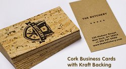 Jukebox Print image: This service has several different paper types you can use, including these business cards that are printed onto cork.