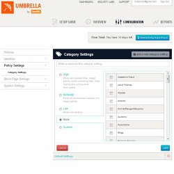 Umbrella Everywhere image: The Category page lets you categorize new threats to your network.