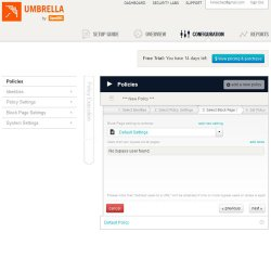 Umbrella Everywhere image: The Policies page lets you set and edit your internet access policies based on your needs.