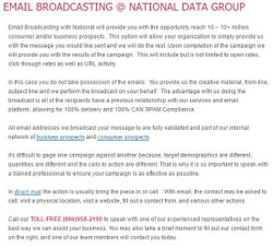 National Data Group image: For email direct marketing, the service broadcasts your email message for you using a one-time list.