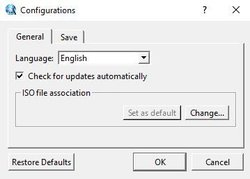 The general configurations page lets you customize settings for language, updates and other features.