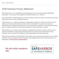EDM Americas image: EDM Americas complies with European Safe Harbor security guidelines