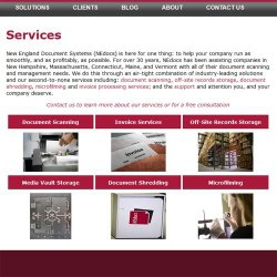 New England Document Systems image: This company offers document scanning and many other services.
