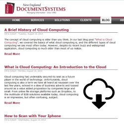 New England Document Systems image: Part of the support offering is a blog with frequently posted articles.