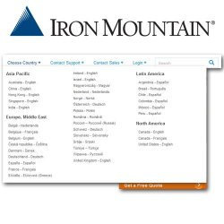 Iron Mountain image: Iron Mountain has facilities in 36 countries on five continents.