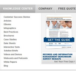 Iron Mountain image: Many knowledge center support information is available online at this company's website.